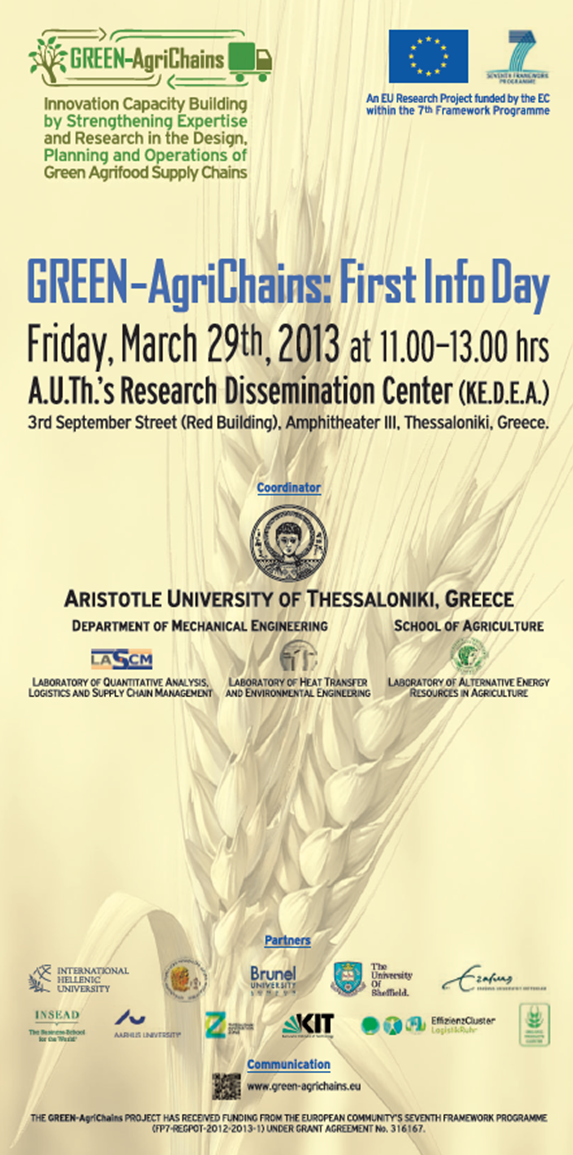 GREEN AgriChains First Info Day Poster
